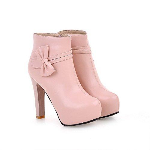 AllhqFashion Damen Reißverschluss Rund Zehe Stiefel Pink