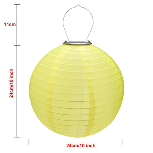 6 Packs Multi-Color 10'' Solar Powered Lanterns Hanging Solar Lamps for Garden by uxcell (Image #1)