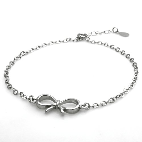 Bow Bracelet (Sterling Silver Infinity Bow Charm Bracelet, 6.5 Inches)
