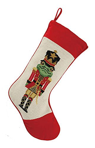 Nutcracker Soldier Frog Christmas Stocking, Wool Needlepoint, 11 Inch X 18 Inch - Frog Needlepoint
