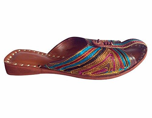 Step Multicoloured Leather Traditional Style Women Shoes Flops Flat Flip Juti Boho n Khussa Mojari FBOrqwnF