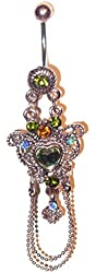 """Vintage Style Heart Navel Ring with Chain Dangle - 14G 3/8"""""""