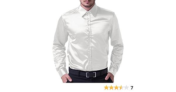 Camisa de Hombre Camisa Delgada, Manga Larga, elástica, cómoda, tamaño L, Blanca