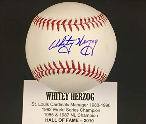 Signed Whitey Herzog Baseball - ~ COA + Holo ~ Hall of Fame - Tristar Productions Certified - Autographed Baseballs