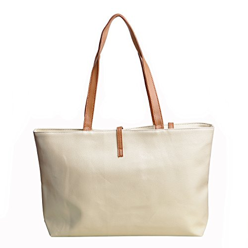 HDE Women's Classic Faux Leather Medium Tote Shoulder Bag Fashion Handbag (White Classic Tote)