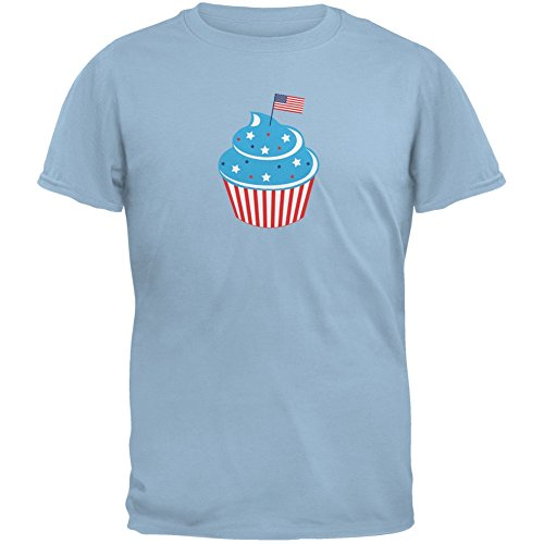 - Old Glory 4th of July American Flag Cupcake Light Blue Youth T-Shirt - Youth X-Large