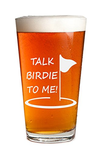 (Talk Birdie To Me - 1 Pack - Engraved Beer Glass - Golf Gift - Golfer Beer Glass - 16oz Clear Pint/Mixing Glass - Funny Gifts for Men and Women by Sandblast Creations )