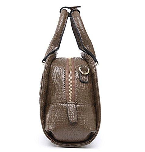 Contrajo XinMaoYuan bolso de cuero de vaca color liso Funda de cuero lacado de embarque a mano hombro bolsa Crossbody Caqui