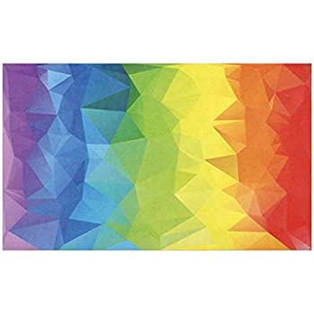 Lunarable Rainbow Doormat, Abstract Lively Horizontal Polygons in Rainbow Colors Pride Week Facet Pattern, Decorative Polyester Floor Mat with Non-Skid Backing, 30