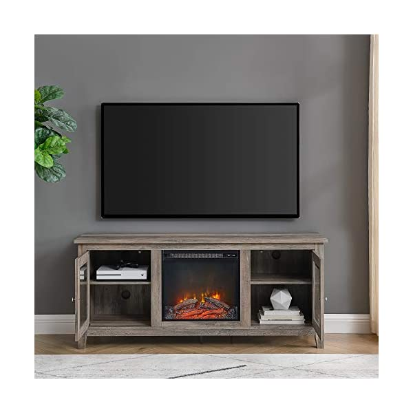 """Walker Edison Rustic Wood and Glass Fireplace Stand for TV's up to 64"""" Flat Screen Living Room Storage Cabinet Doors and Shelves Entertainment Center, 24 Inches Tall, Grey Wash (AZ58FP4DWGW)"""