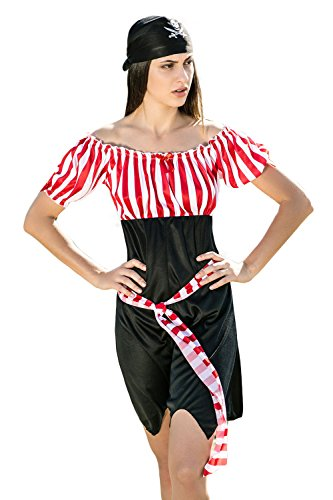 [Adult Women Pirate Wench Halloween Costume Sweet Buccaneer Dress Up & Role Play (Standard)] (Halloween Pirate Woman Costumes)