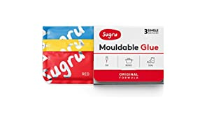 Sugru Moldable Glue - Original Formula - All-Purpose Adhesive, Advanced Silicone Technology - Holds up to 2 kg - Red, Yellow & Blue 3-Pack