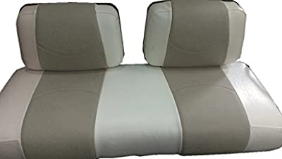 Kool Cushions YAMG14G22-WHCSST-01 -Custom Vinyl Golf Cart Seat Covers Front Only-White with Cornerstone Stripe - For Yamaha G14-G22 Golf Cart