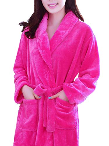 Femaroly Nightgowns Robe for Women Autumn Winter Flannel Bathrobe Thickening Long Dressing Gown Rose M