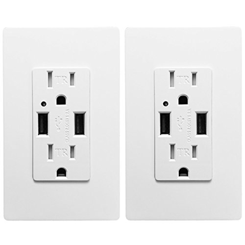 (Outlet with USB High Speed Charger 4.2A Charging Capability, Child Proof Safety Duplex Receptacle 15 Amp, Tamper Resistant Wall socket plate Included UL Listed MICMI U24 (USB outlet 2pack))
