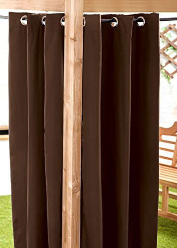 "Brown Water Resistant Ready Made Outdoor Eyelet Curtain 55""x72"" Gazebo Summer House Gardenista"