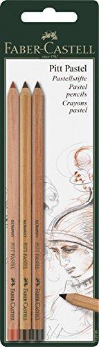 Faber-castell Pitt Pastel Pencils Set Of 3 (sanguine, Light Sepia & Dark ()