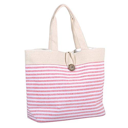 Stripe Shopping Tote Bag Ladies Shoulder Narrow Handbag Pink Stripes Fashion Canvas Beach YqSdx