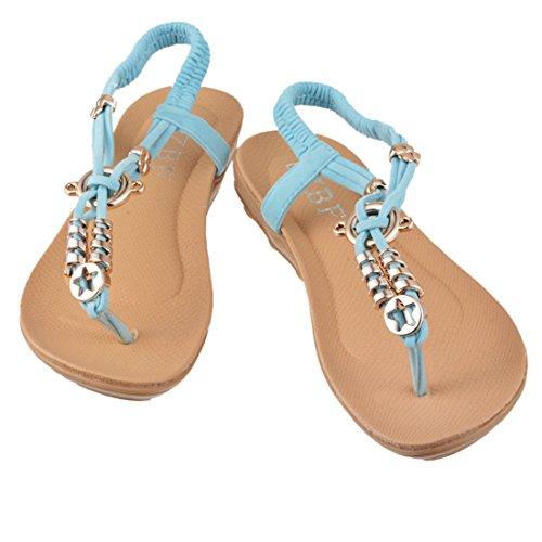 Chaussure Plates Clip Brides Encounter Bohémien Été Sandales Femme Bleu Toe Perles Fille BBqwUgC