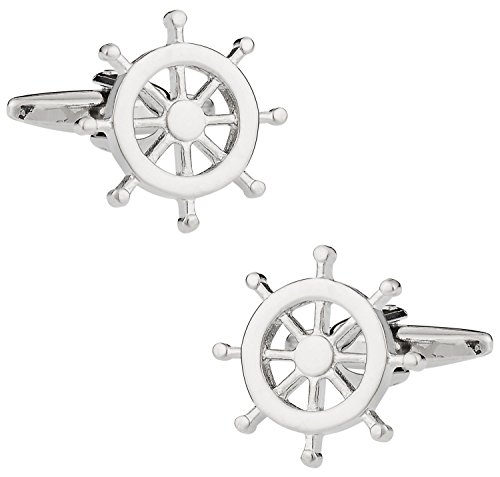 Cuff-Daddy Nautical Ships Wheel Silver Tone Cufflinks with Presentation Box