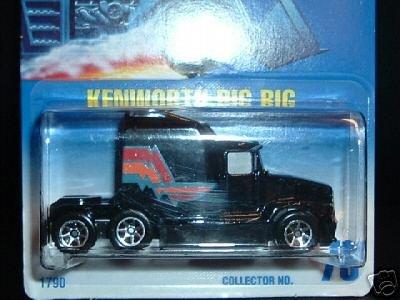 Hot Wheels 1995 Kenworth Big Rig Black Truck Card -