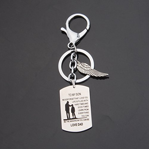 Zuo Bao To My Son Never Forget That I Love You Pendant Necklace Father And Son Necklace Inspirational Gift To Son (Keyring)