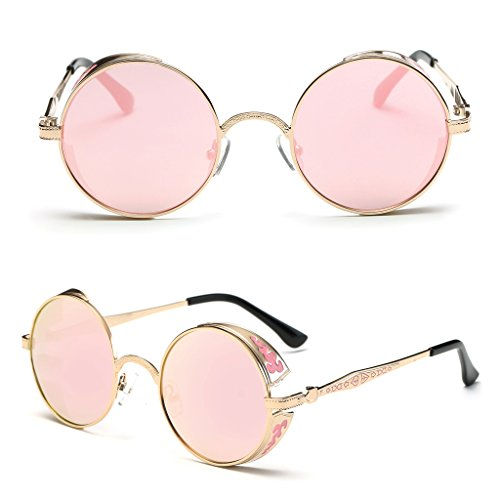 Niceskin Round Mirrored Sunglasses for Men Women, Metal and Resin (Gold&Rose - 2017 Womens Sunglasses Trends