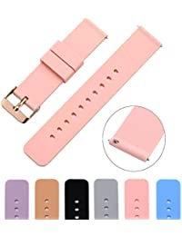 Soft Silicone Watch Band with Quick Release Pins - Choice Color & Width (18mm, 20mm or 22mm) Watch Straps w/Adjustable Metal Clasp