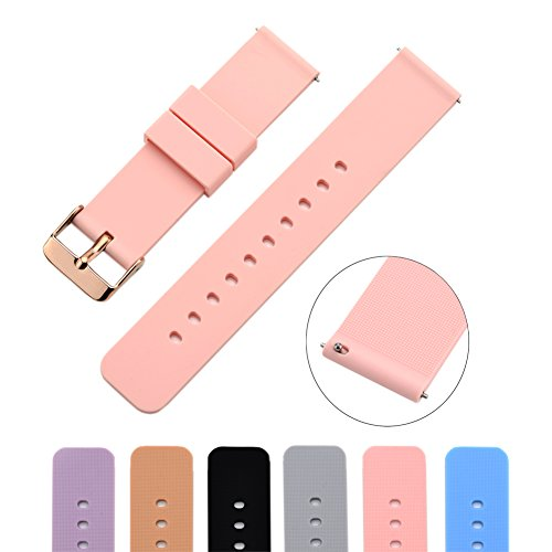MLQSS Soft Silicone Watch Band with Quick Release Pins - Choice Color & Width (18mm, 20mm or 22mm) Watch Straps w/Adjustable Metal Clasp (Sports Band Watch)