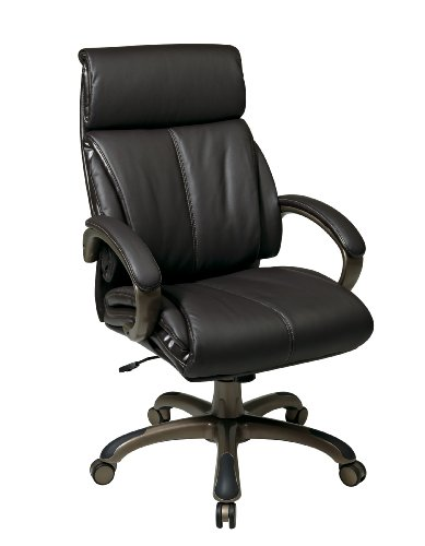 - Office Star Executive Eco Leather Chair with Locking Tilt Control and Coated Base, Espresso