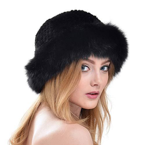 QIONGQIONG Sombrero de Cachemir Sombrero de Frijol de alubia de Felpa Sombrero de Paja de Piel de visón Moda Orejeras...