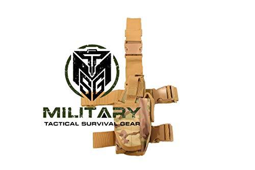 Drop Leg Holster, Right Handed Tactical Thigh Pistol Gun Holster Leg Harness (CP Multi Cam)
