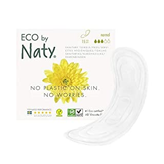 Eco by Naty Sanitary Pads – Normal, 15 Pads. Absorbent, plantbased Thin Sanitary Pads. Vegan. 0% Plastic