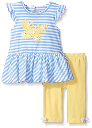 Little Me Baby Girls' Tunic With Capri Set, Blue Stripe, 12 Months (Butterflies Capri Girls Baby Clothes)
