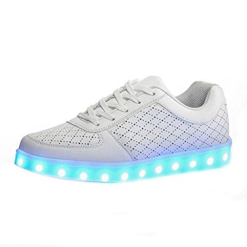 [Present:kleines Handtuch]JUNGLEST® (TM) 7 Farbe USB Aufladen LED Leuchtend Sport Schuhe Sportschuhe Sneaker Turnschuhe für Unise Weiß mit Loch