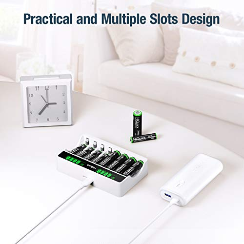HiQuick AA Battery Charger with Batteries - 8Bay Battery Charger and AA Rechargeable Batteries (8Pcs) - Durable & Long Lasting Batteries & Fast Charging
