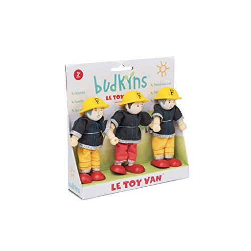 Le Toy Van Budkins Set of 3 Firefighter Posable Figures Premium Wooden Toys for Kids Ages 3 years & Up (Garden Furniture Range Uk The)