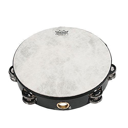 Remo 8 inch Fiberskyn Tambourine (Double Jingle; Black; Teen/Adult) by Remo