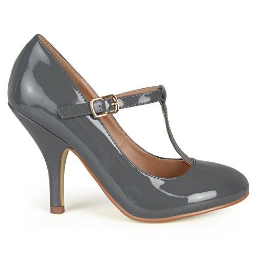 Brinley Co Women's Nealsen 3 Dress Pump, Grey Patent PU, 8 M US