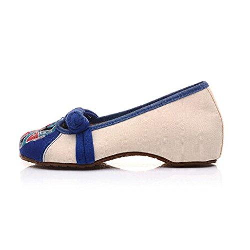 Nacional Bordar aumento zapatos interno estilo DYF planos Mujer China Beige desnuda q4E7SwY
