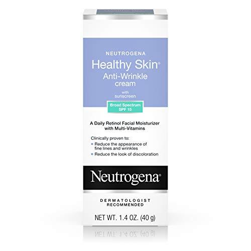 Neutrogena Healthy Skin Anti Wrinkle Retinol & Vitamin E Face & Neck Cream Moisturizer with SPF 15 Sunscreen, Oil-Free - Retinol, Green Tea, Glycerin, Vitamin E, Vitamin A & Vitamin B5, 1.4 oz