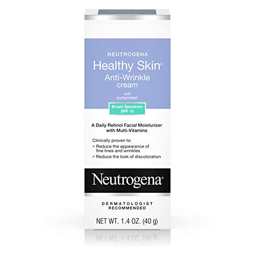(Neutrogena Healthy Skin Anti Wrinkle Retinol & Vitamin E Face & Neck Cream Moisturizer with SPF 15 Sunscreen, Oil-Free - Retinol, Green Tea, Glycerin, Vitamin E, Vitamin A & Vitamin B5, 1.4 oz)