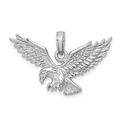 Real 14kt White Gold Eagle Landing Pendant