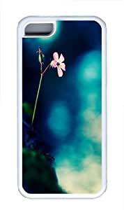 Flowers Rocks Fuzzy Green TPU Case Cover for iPhone 5C White