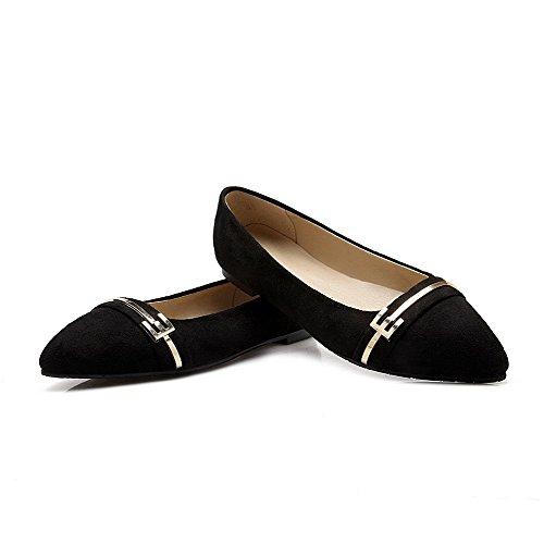 AllhqFashion Damen Rein Mattglasbirne Ohne Absatz Ziehen auf Spitz Zehe Flache Schuhe, Schwarz, 35