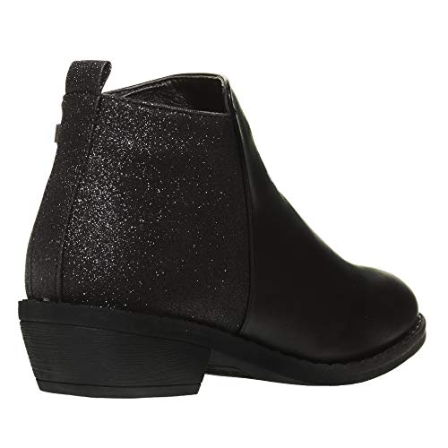 bebe Girls Ankle Boots Size 2 Round Toe Designed Glitter Panels Side Zippers Casual Dress Slip-On Walking Low Mid-High Fashion Shoes Black by bebe (Image #3)