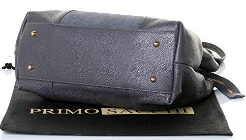 en poche de Suede comprend manche sac main la texturé avec protecteur Long façade rangement à main marque italien de grand À de un Primo Gris cuir Sacchi® sac EwZqUTnT