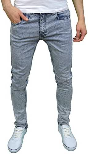 Soulstar Mens Boys Skinny Stretch Acid Snow Wash Jeans
