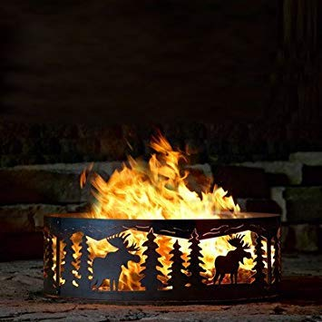 P&D Metal Works Campfire Fire Ring w Moose Cutout Design - Solid Steel (48 in. Dia.) by P&D Metal Works