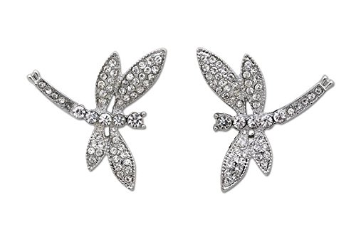 - Sassy Clips Silver Petite Dragonfly with Clear Crystal Rhinestones